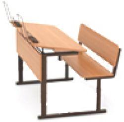 Парта ученическая двухместная регулируемая с углом наклона столешницы (0 или 10 градусов) на прямоугольной трубе (меламин)