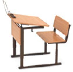 Парта ученическая одноместная регулируемая с углом наклона столешницы (0 или 10 градусов) на прямоугольной трубе (меламин)